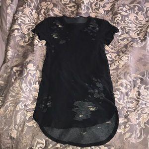 Fashion Nova Destroyed Black Tunic dress/shirt